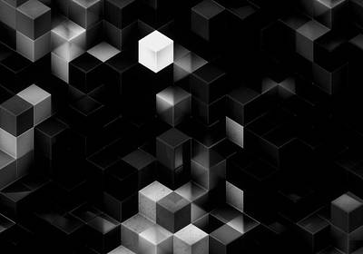 Cubed - Black And White Art Print