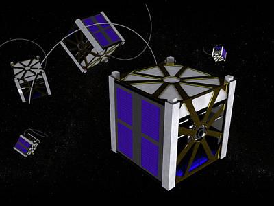 Miniature Photograph - Cubesat Miniature Satellite by Christian Darkin