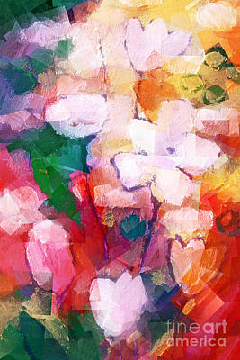 Flower Abstract Painting - Cubic Flowers by Lutz Baar