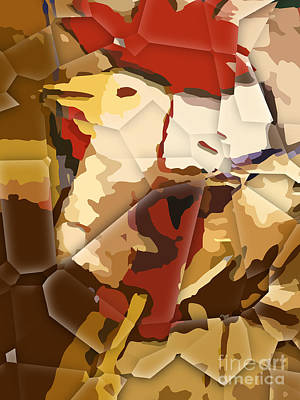 Rooster Digital Art - Cubic Rooster by Lutz Baar