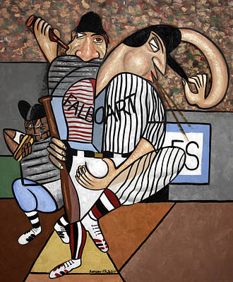 Sports Paintings - Cubist Baseball by Anthony Falbo