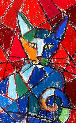 Cubist Colorful Cat Art Print by Mona Edulesco