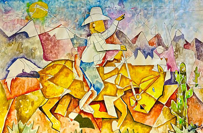 Painting - Cubist Cowboy by Bern Miller