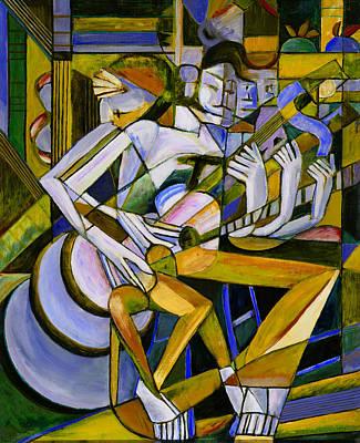 Cubist Descending Guitar Yellow Art Print
