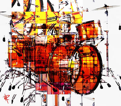 John Bonham Mixed Media - Cubist Drums by Russell Pierce