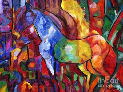 Painting - Cubist Horse Reflections by Dianne  Connolly