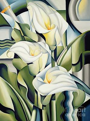 Leaf Green Painting - Cubist Lilies by Catherine Abel