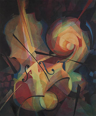Violin Painting - Cubist Play - Abstract Cello by Susanne Clark