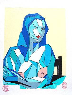 Painting - Cubistic Blue Lady by Roberto Prusso