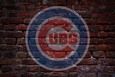 Cabin Wall Digital Art - Cubs Baseball Graffiti On Brick  by Movie Poster Prints