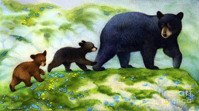 Bear Painting - Cubs Day Out Black Bears by Tracy Herrmann