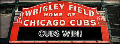 Friendly Confines Photograph - Cubs Win - Wrigley Sign by Stephen Stookey