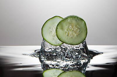 Cucumber Freshsplash Art Print by Steve Gadomski