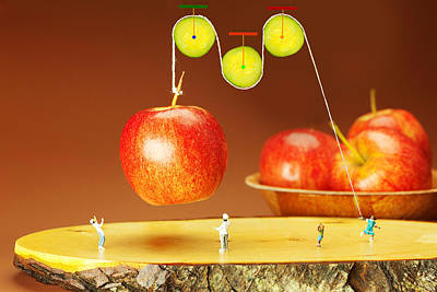 Photograph - Cucumber Pulley Moving Apples Food Physics by Paul Ge