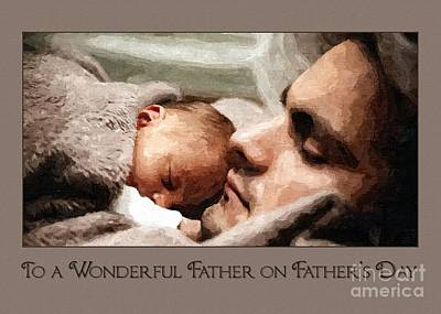 Digital Art - Cuddle With Dad Father's Day by JH Designs