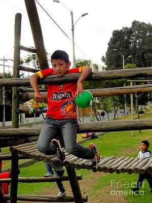 Americas Playground Photograph - Cuenca Kids 270 by Al Bourassa