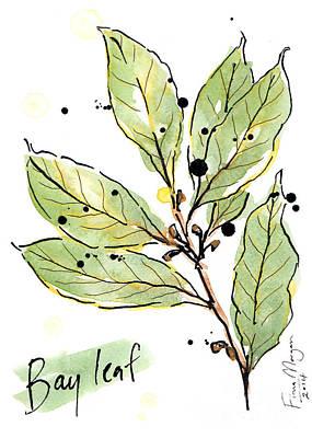 Menu Illustrations Painting - Culinary Herbs - Bay Leaf by Fiona Morgan