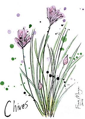 Menu Illustrations Painting - Culinary Herbs - Chives by Fiona Morgan