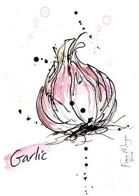 Menu Illustrations Painting - Culinary Herbs - Garlic by Fiona Morgan