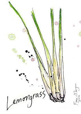 Menu Illustrations Painting - Culinary Herbs - Lemongrass by Fiona Morgan