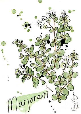 Menu Illustrations Painting - Culinary Herbs - Marjoram by Fiona Morgan