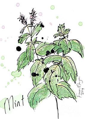 Menu Illustrations Painting - Culinary Herbs - Mint by Fiona Morgan