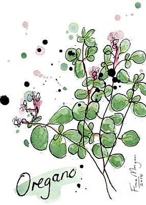 Menu Illustrations Painting - Culinary Herbs - Oregano by Fiona Morgan