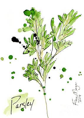 Menu Illustrations Painting - Culinary Herbs - Parsley by Fiona Morgan