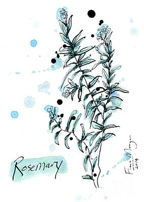 Menu Illustrations Painting - Culinary Herbs - Rosemary by Fiona Morgan