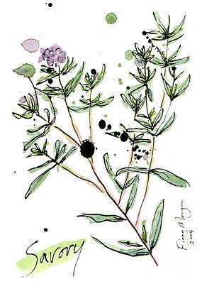 Menu Illustrations Painting - Culinary Herbs - Savory by Fiona Morgan