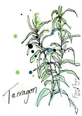 Menu Illustrations Painting - Culinary Herbs - Tarragon by Fiona Morgan