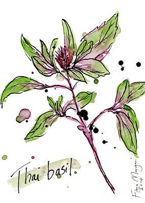 Menu Illustrations Painting - Culinary Herbs - Thai Basil by Fiona Morgan