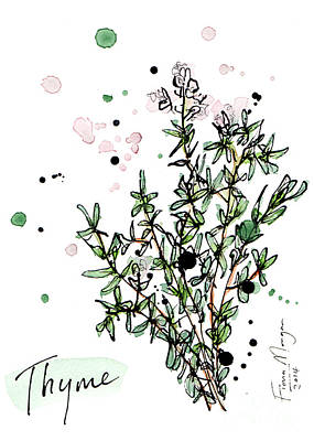 Menu Illustrations Painting - Culinary Herbs - Thyme by Fiona Morgan