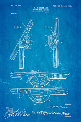 Cullmann Bevel And Square Patent  Art 1902 Blueprint Art Print by Ian Monk