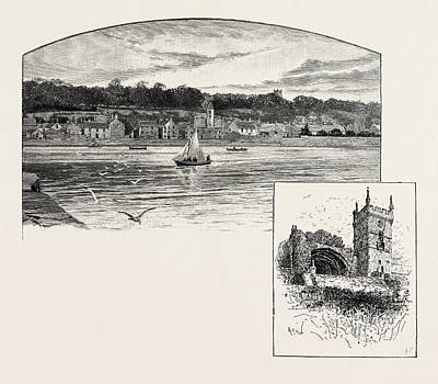Fife Drawing - Culross, From The Pier Left, Culross Abbey Right by Scottish School