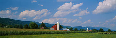 Pasture Scenes Photograph - Cultivated Field In Front Of A Barn by Panoramic Images