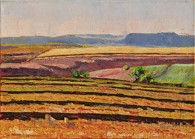 Art Print featuring the painting Cultivated Fields Near Ficksburg South Africa Bertram Poole by Thomas Bertram POOLE
