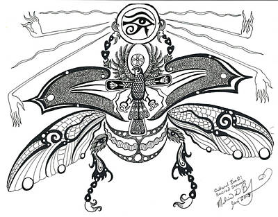 Horus Drawing - Cultural Zoo 2 Sacred Scarab by Melinda Dare Benfield