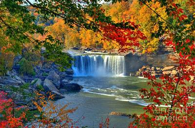 Red Leaves Photograph - Cumberland Falls In Autumn 2 by Mel Steinhauer