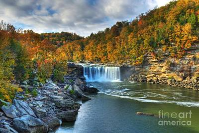 Waterfalls And Trees Landscape Photograph - Cumberland Falls In Autumn by Mel Steinhauer