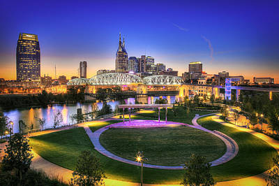 Nashville Skyline Wall Art - Photograph - Cumberland Park And Nashville Skyline by Lucas Foley