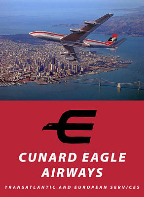 Digital Art - Cunard Eagle Airways Poster by Nop Briex