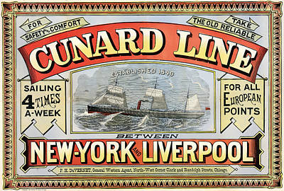Cunard Line New York-liverpool 1875 Art Print by Mountain Dreams