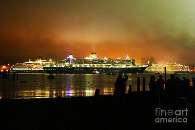Photograph - Cunard's 3 Queens by Terri Waters