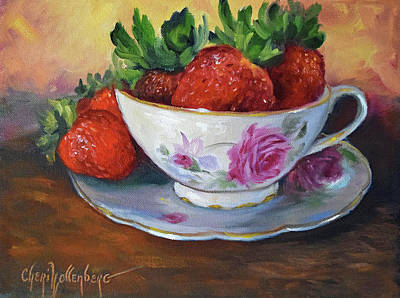 Tea Cups Painting - Cup And Saucer With Strawberries by Cheri Wollenberg
