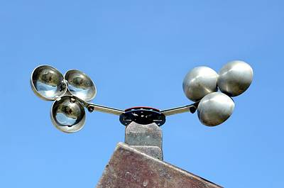 Anemometer Photograph - Cup Anemometer On A Roof by Chris Hellier