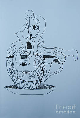Painting - Cup Cake - Doodle by James Lavott