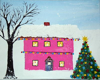 Painting - Cup Cake Christmas House by Daniel Nadeau