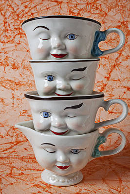 Cup Faces Art Print