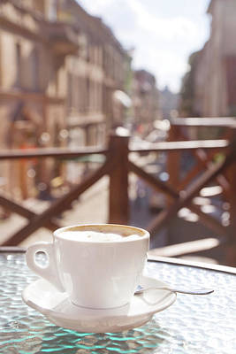 Photograph - Cup Of Cappuccino In Outside Cafe by Mitshu